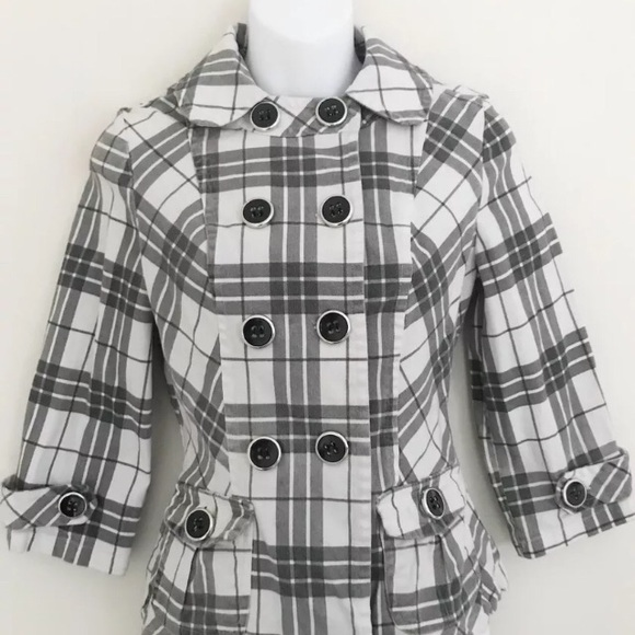 Maurices Jackets & Blazers - Maurices Black White Plaid Button Up Jacket Size M